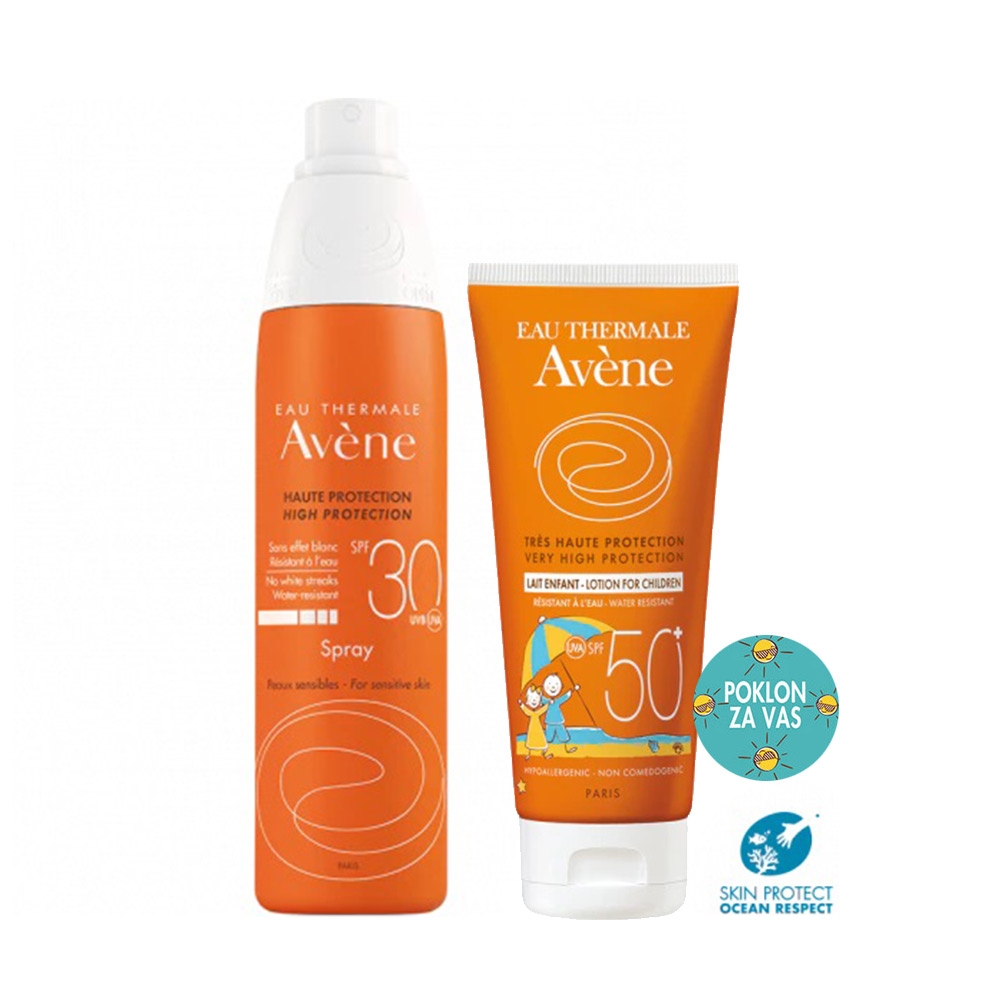 Avène Sun paket za cijelu obitelj Sprej SPF30 + Dječje mlijeko SPF50+ gratis